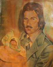 Vintage oil painting man and baby portrait