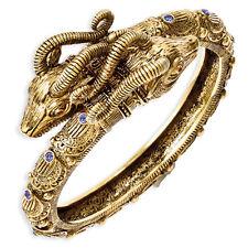 "Jacqueline Kennedy 24K Gold Finish Blue Crystal Ram's Head Wrist Bangle 8"""