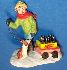 Coke 1994 Coca Cola Town Square Collection Boy Girl Dog w Reindeer Ears Wagon