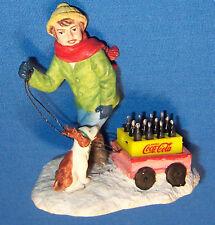 Coke 1994 Coca Cola Town Square Collection Boy Girl Dog w Reindeer Ears Wagon