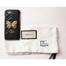 NEW $390 GUCCI Black GG Marmont 2.0 Matelassé Leather IPHONE 7 CASE GOLD MOTH