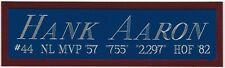 HANK AARON BRAVES NAMEPLATE FOR AUTOGRAPHED Signed BAT-JERSEY-BASEBALL-PHOTO-CAP