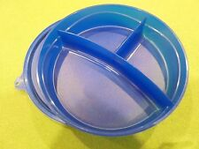 Tupperware Divided Baby Toddler Dish Bowl  Separate foods Blue