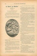 Médailles Raphaël & La Fornarina Dante & Béatrice Italie GRAVURE OLD PRINT 1913
