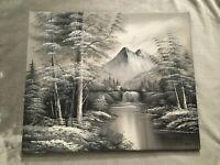 """Trees Forrest Stream Mountains Nature B&W Grey Original Oil Painting  20""""x24"""""""
