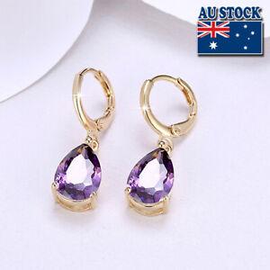Wholesale Elegant 18K Gold Filled Purple Zircon Crystal Drop Dangle Earrings