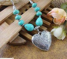 charm New Women's Fashion Tibetan silver Turquoise Heart Pendant Necklace XP0011
