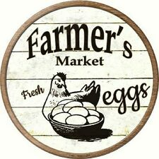 Farmers Market Fresh Eggs Metal Novelty Round Circular Sign