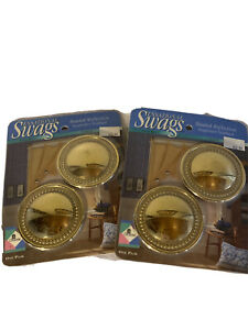 Vintage GRABER Sensational Swags Solid Brass Swagholder Holdback lot of 2 pairs