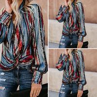 VONDA Women Loose Puff Sleeve Printed Long Sleeve Hips Tops Shirt Blouses Casual