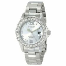 Invicta Women's Watch Pro Diver Crystal Bezel Silver Tone Dial SS Bracelet 15251