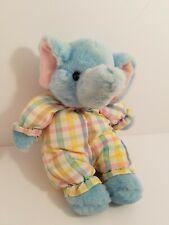 Vintage Russ Berrie Eloise Blue Elephant Plush Plaid Outfit Pajamas 7211