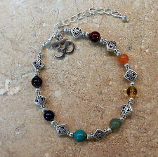 Celtic Knot beads & Ohm Charm Celtic Chakra Bracelet w/ Genuine Gemstones Silver