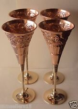 Set Of 4 Pure Copper Handmade Carved Wine Goblet Cup Glass 7 Oz Brass Stem Stand