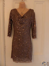 Gorgeous Studio M size M (UK 10-12) beige mesh sequinned dress