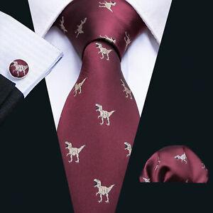 Novelty Silk Mens Ties Red Dinosaur Necktie Hanky Cufflinks Set Wedding Party