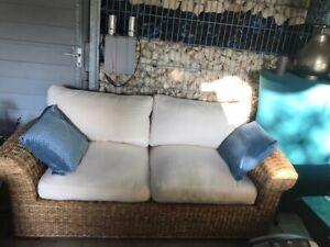 Couchgarnitur 2-teilig, Rattan, naturfarben