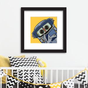 Robot wall art for children/babies Limited Edition Blue Robot