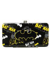 DC Comics Batman logo Hinged Kisslock Ladies Clutch Wallet Black & Yellow NEW