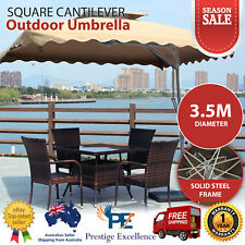 3.5M Large Square Cantilever Outdoor Umbrella Beige Tan Steel Frame Canopy Shade
