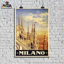 POSTER vintage MILANO città arte Italia turismo viaggio Duomo QUALITY GRAPHICS