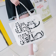 Women Girls Cartoon Cats Printed Big Shopping Tote Canvas Shoulder Bag Handbag