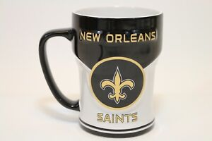 New Orleans Saints NFL Black White Gold 14 oz Ceramic Relief Mug