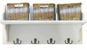 Traditional Wicker Storage Basket Hamper Baskets Set With 4 Hooks Shelf Rack New