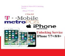 Tmobile/Metro PCS Iphone Unlocking Service 7/7+/8/8+ [1-5days]