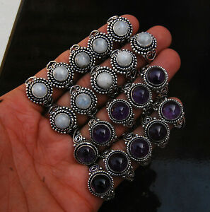 Lot 10 Pcs Natural AMETHYST MOONSTONE Gemstone 925 Sterling Silver Plated Rings