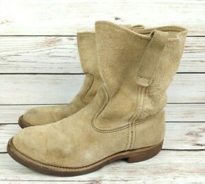 Red Wing Shoes Pecos Beige Suede Boots Size 7 3E Pull On Soft Toe