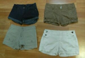 Lot of 4 Stylish Walking Shorts Junior Sz 3  Charlotte Russe, Mossimo, LEI, Hype