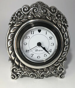 Vtg  Brighton Clock  Silver-Tone  Travel/Desk Clock  Country French Style Works