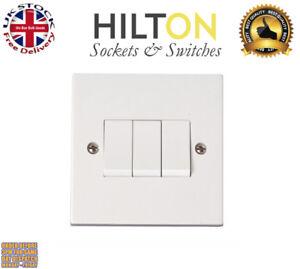 HILTON Light Switch White Plastic 3Gang 2Way 10Amp ***Best Quality***