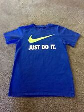 "Pre-Owned Nike ""Just Do It"" Boys Medium Athletic Cut T-Shirt Blue"
