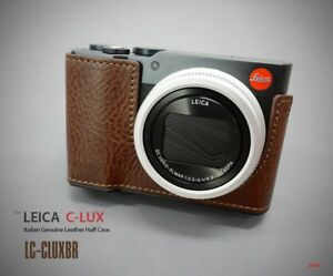 LIM'S Genuine Leather Camera Half Case Aluminum Plate For Leica C-LUX Brown