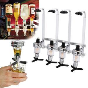 4Bottle Stand Wall Mounted Optic Dispenser Drinks Wine Steel Bar Drink Butler UK