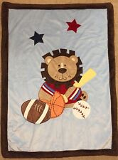 Lion Sports Blanket Football Basketball Baseball Baby Boy Blanket Blue Brown