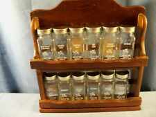Lot of 12 Crystal Food Product Spice Jars w/ Spice Rack