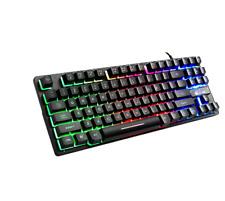 87 Key Wired Gaming Keyboard RGB Mix Backlight Luminous For Desktop Laptop US
