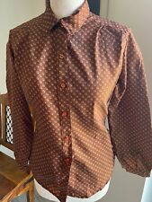 VINTAGE 70's BROWN GEOMETRIC SILKY BLOUSE SHIRT UK 10 SMALL