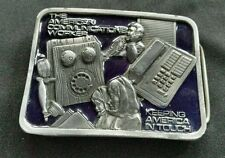 THE AMERICAN COMMUNICATIONS WORKER PHONE ENAMELED BELT BUCKLE MADE IN USA