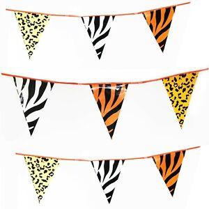 Bunting Animal Safari Flag Tiger Zebra Print 20 Flags 10 Metres Kids Birthday