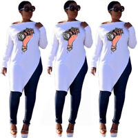 Women Long Sleeves Money In Hand Print Casual Club Party Slit Tops Shirt