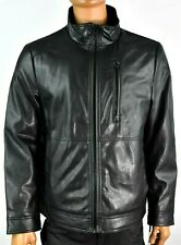 Calvin Klein Mens Faux Leather Jacket New L XL Solid Black Zip Bike Motorcycle