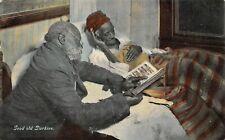 Vintage Postcard Black African American Good Old Darkies Reading to Old Women