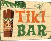 """Tiki Bar"" Metal Decor Wall Art Shop Kitchen Cottage Beach Store Sign"