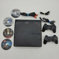 Sony PlayStation 3 Slim 250GB Black Console Bundle 4 Games 2 Controllers Tested
