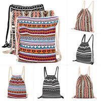 Boho School Drawstring Bag Sport Gym Sack Swim Canvas Kit Shoes Sports Backpack