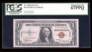 DBR 1935-A $1 Hawaii Superb Gem SC Block Fr. 2300 PCGS 67 PPQ Serial S43012129C